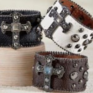 Authentic white leather studded and cross bracelet